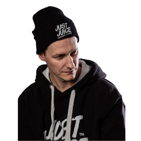 Man wearing a Just Juice black beanie hat front